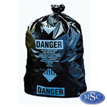 Black Bags with Asbestos Danger Labels Printed on the bag